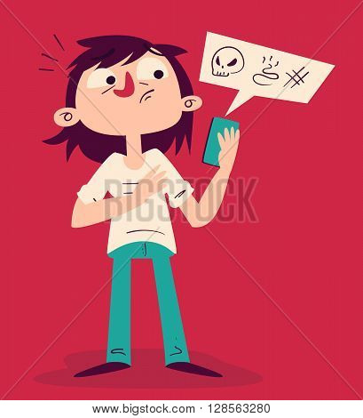 Vector illustration of a cartoon girl looking tense holding a cell phone with bad things coming out of it.