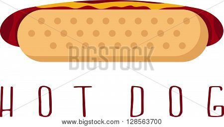 Hot Dog With Ketchup And Mustard Vector Design Template