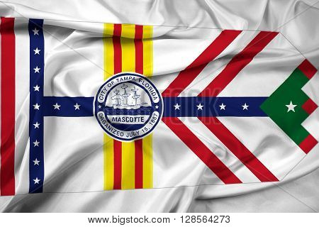 Waving Flag of Tampa Florida, with beautiful satin background.
