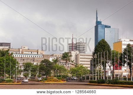 View on central business district of Nairobi. Kenya.
