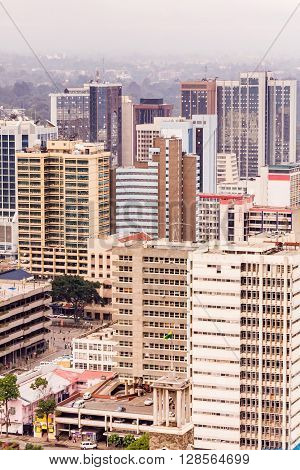Top view on central business district of Nairobi from helipad on the roof of Kenyatta International Conference Centre (KICC). Kenya.