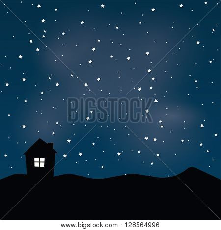 House in the mountains with night sky