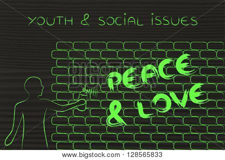 Man Writing Peace & Love As Wall Graffiti, Youth & Social Issues