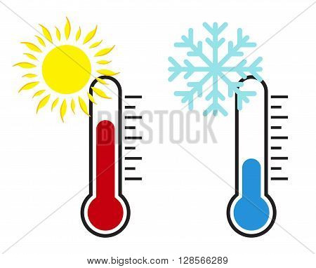 Thermometer with sun and snow. Vector illustration.