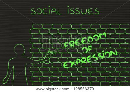 Man Writing Freedom Of Expression As Wall Graffiti, Caption Social Issues