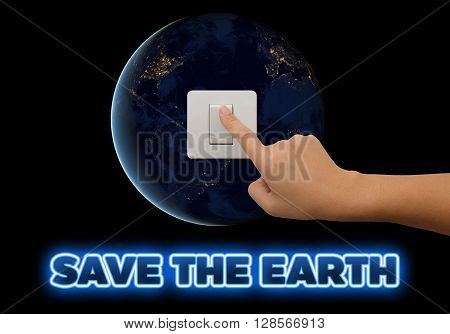 Let's save energy for save our planet earth. Ecology concept. Elements of this image are furnished by NASA