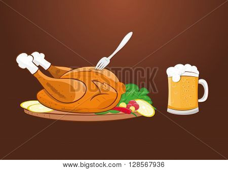 vector illustration of grilled roast chicken with beer mug. eps 10