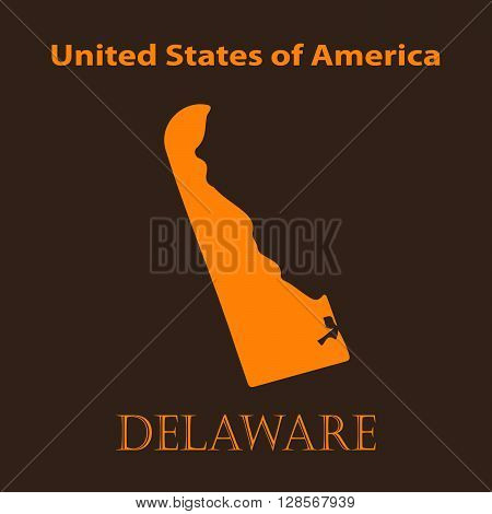 Orange Delaware map - vector illustration. Simple flat map of Delaware on a brown background.