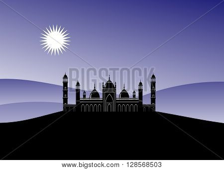mountain landscape and mosque. A mosque silhouette against the blue sky and mountains