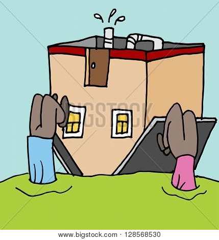 An image of a people upside down on their home mortgage.