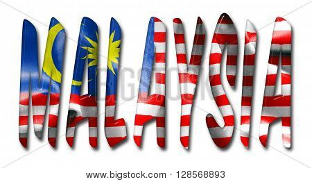 Malaysia word with a bevelled flag texture on an isolated white background with a clipping path with and without shadows