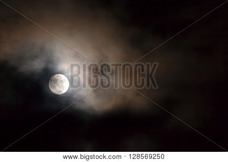 Full Moon Over Dark Black Sky With Stars And Clouds