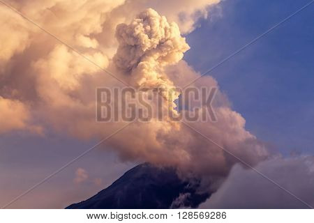 Powerful Explosion Of Tungurahua At Sunset Ecuador South America