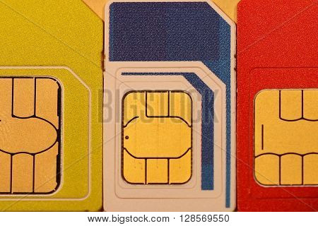 SIM cards of different mobile operators for mobile phones.