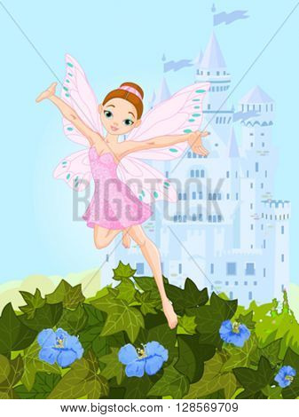 Illustration of a cute pink fairy in flight