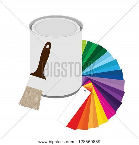 Vector illustration colored swatches and paint cans with paintbrush on white background. Color guide