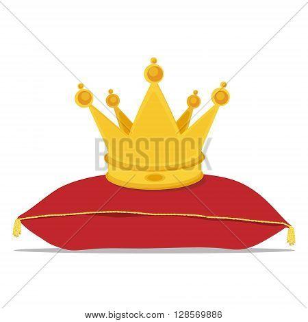 Vector illustration golden crown on the red pillow. Royal crown on velvet pillow