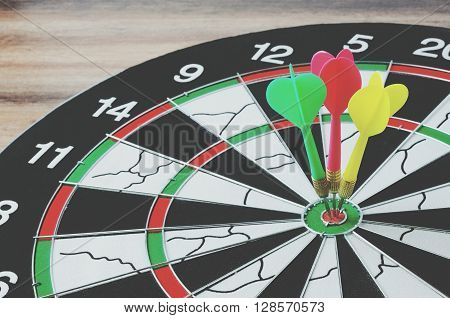 Darts Hit On Bulls Eyes, Retro Style