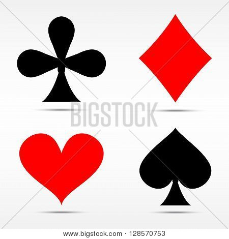 Vector illustration set of playing card suits isolated on white background. Spades hearts diamonds and clubs