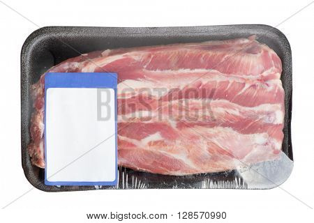 Steak in pack isolated on white background