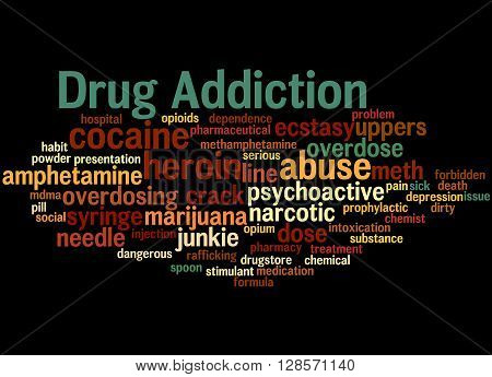 Drug Addiction, Word Cloud Concept