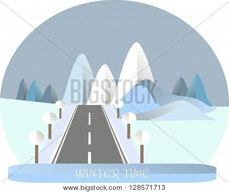 Series four seasons. Mountain landscape with road in winter time. Modern flat design, design element, vector