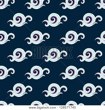 Vector seamless pattern with elegant white curls and swirls. Luxury texture with waves. Asian ornament with sky and abstract clouds. Drawn Japanese water graphic. Frost background. Christmas paper