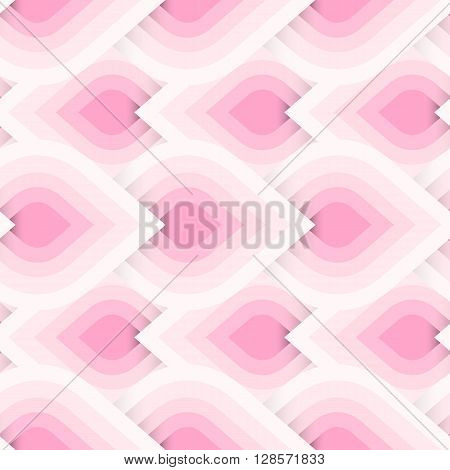 Vector geometric pattern with abstract leaf ornament in pink multiple colors. Bold geometry print in art deco style with drops. Seamless background with ethnic, Arabic, Indian, Turkish, ottoman motifs