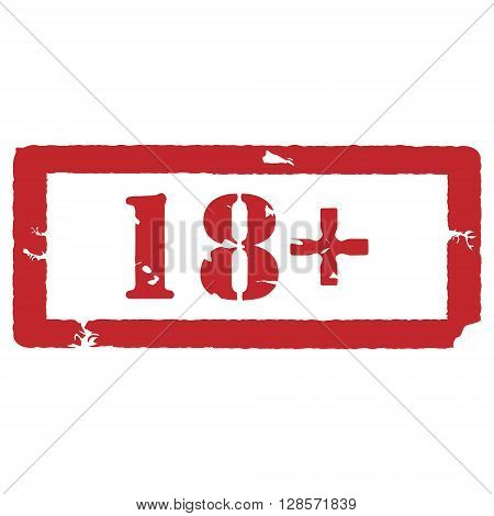 Vector illustration rectangle red under 18 eighteen stop sign. 18+ age restriction stamp