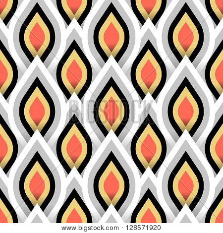 Vector geometric pattern with abstract leaf ornament in gold white red colors. Bold geometry print in art deco style with drops. Seamless background with ethnic, Arabic, Indian, Turkish, ottoman motif