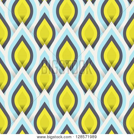 Vector geometric pattern with abstract leaf ornament in gold blue colors. Bold geometry print in art deco style with drops. Seamless background with ethnic, Arabic, Indian, Turkish, ottoman motifs