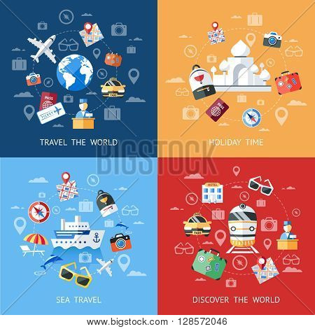 Travel colorful icon set with description of travel the word holiday time sea travel and discover the world vector illustration