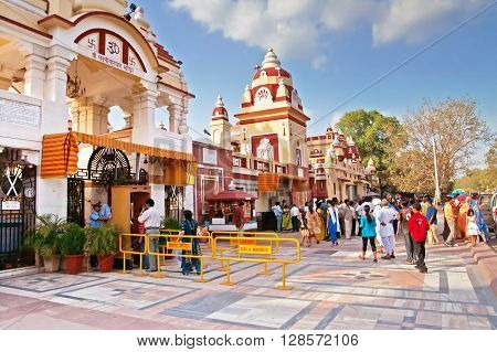 DELHI, INDIA - SEPTEMBER 28, 2008: Unidentified people near Laxminarayan Temple is a temple in Delhi, India. Laxminarayan usually refers to Vishnu Preserver in the Trimurti also known as Narayan when he is with his consort Lakshmi
