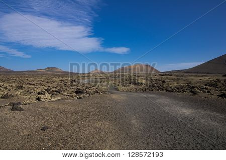 Volcanic landscape of the island of Lanzarote Canary Islands Spain