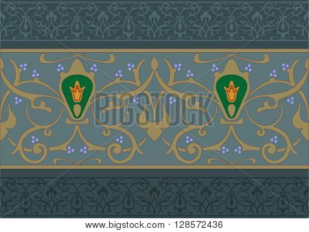 Arabic floral pattern in the form of a frieze or band in vector graphics