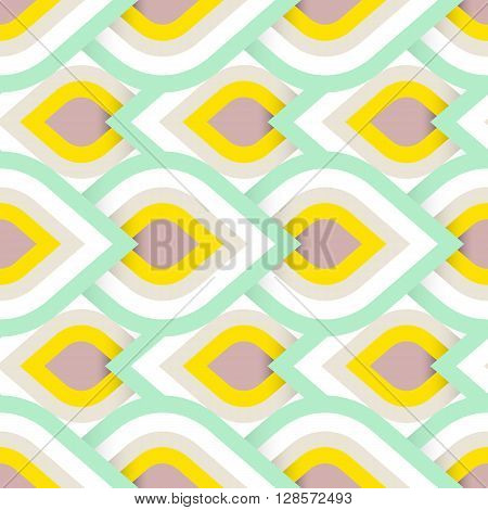Vector geometric pattern with abstract leaf ornament in soft multiple colors. Bold geometry print in art deco style with drops. Seamless background with ethnic Arabic Indian Turkish ottoman motifs