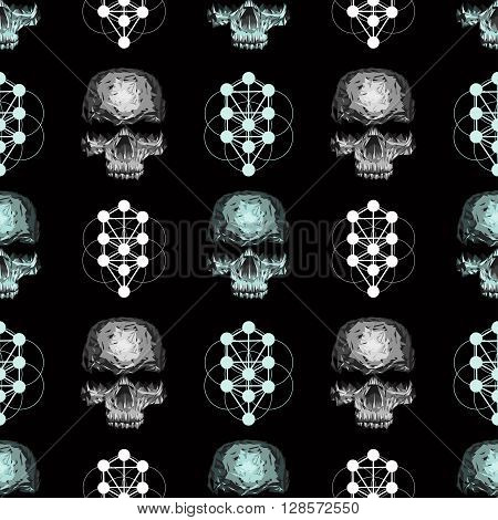 black vector seamless pattern with skull. Mysticism