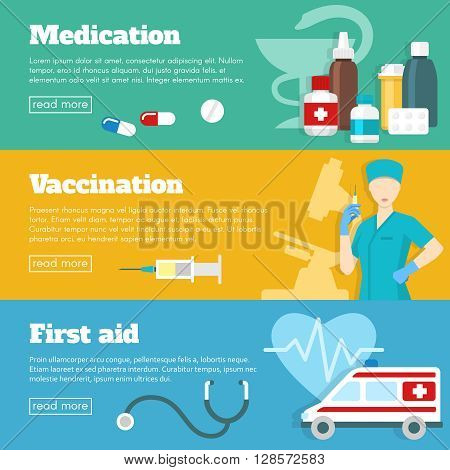 Flat horizontal banner set with three different themes of medication vaccination and first aid vector illustration