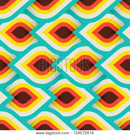 Vector geometric pattern with abstract leaf ornament in bright fun colors. Bold geometry print in art deco style with drops. Seamless background with ethnic, Arabic, Indian, Turkish, ottoman motifs