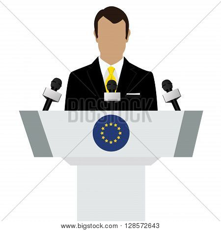Vector illustration presentation conference concept. Speaker man in suit speaking from tribune. EU european union flag on podium tribune