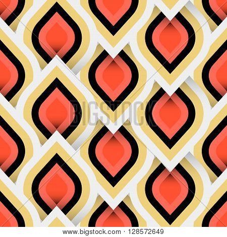 Vector geometric pattern with abstract leaf ornament in gold white red colors. Bold geometry print in art deco style with drops. Seamless background with ethnic Arabic Indian Turkish ottoman motif