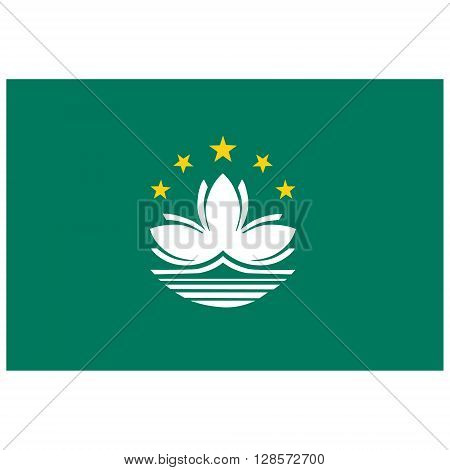Vector illustration Macao flag vector icon. Rectangular national flag of Macau. Macao flag button
