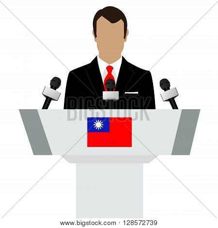 Vector illustration presentation conference concept. Speaker man in suit speaking from tribune. Taiwan Taiwanese flag on podium tribune
