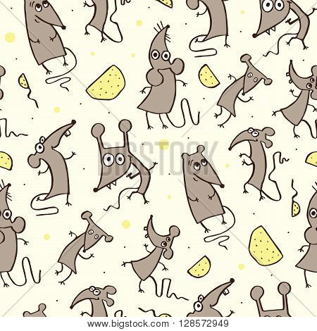 Funny Rat, seamless pattern. Hand drawn doodles illustration. Vector Background
