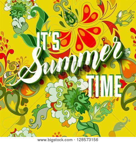 It is summer time yellow lettering background. Vector illustration. Summer on seamless floral pattern.
