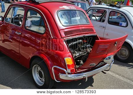 CLUJ-NAPOCA ROMANIA - APRIL 16 2016: Old Fiat 500 car rear showing the engine at the 2016 Retro Spring Parade.