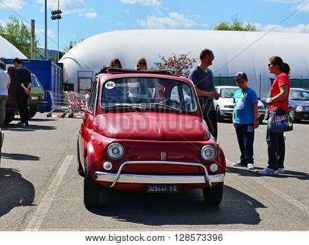 CLUJ-NAPOCA ROMANIA - APRIL 16 2016: Old Fiat 500 car parked at the 2016 Retro Spring Parade.