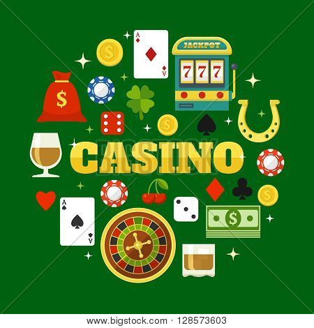 Elements of casino flat icons set in shape of circle on green background isolated vector illustration