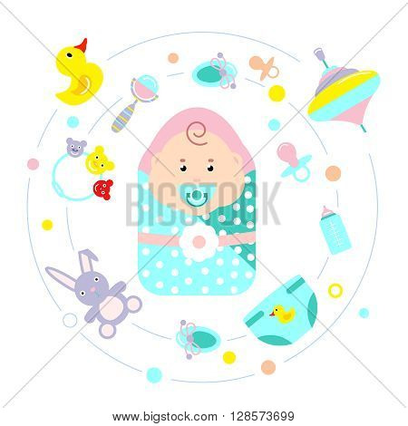 Baby Flat Icon Set with toys childrens accessories attributes around child in diaper at the center vector illustration