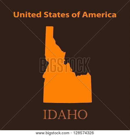 Orange Idaho map - vector illustration. Simple flat map of Idaho on a brown background.